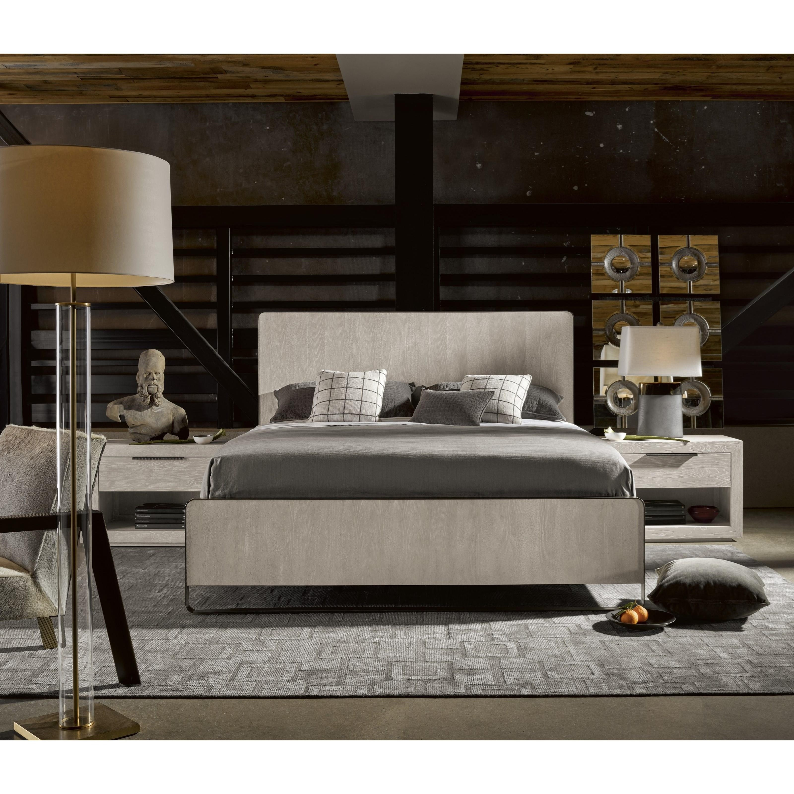 Universal Modern Keaton Queen Bed With Metal Frame Reeds