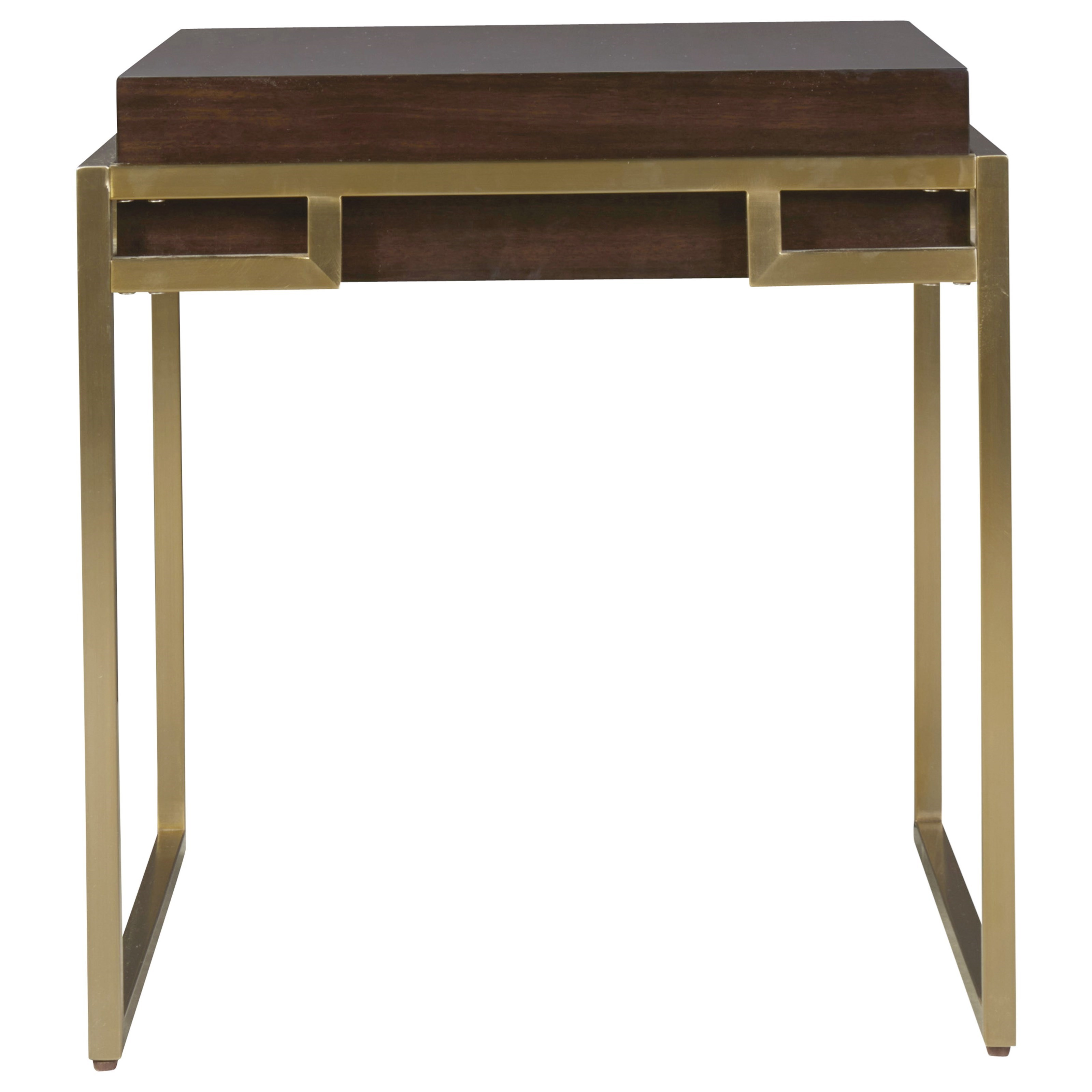 Hayworth Mirrored Coffee Table: Universal Modern Hayworth End Table With Bronze Base