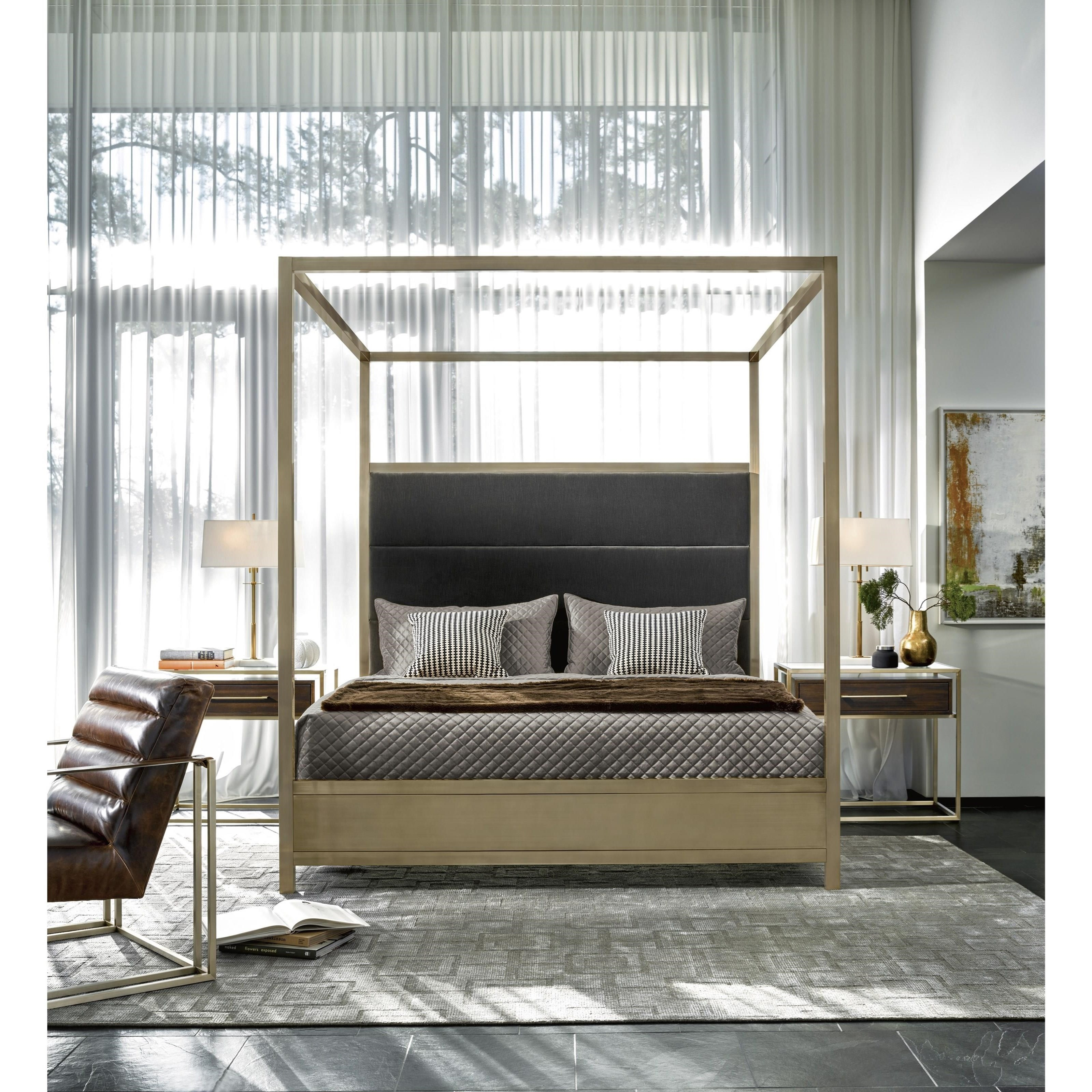 Canopy Style Bed Available For Order In These Wood Colours: Universal Modern Harlow Cal King Canopy Bed With Brushed