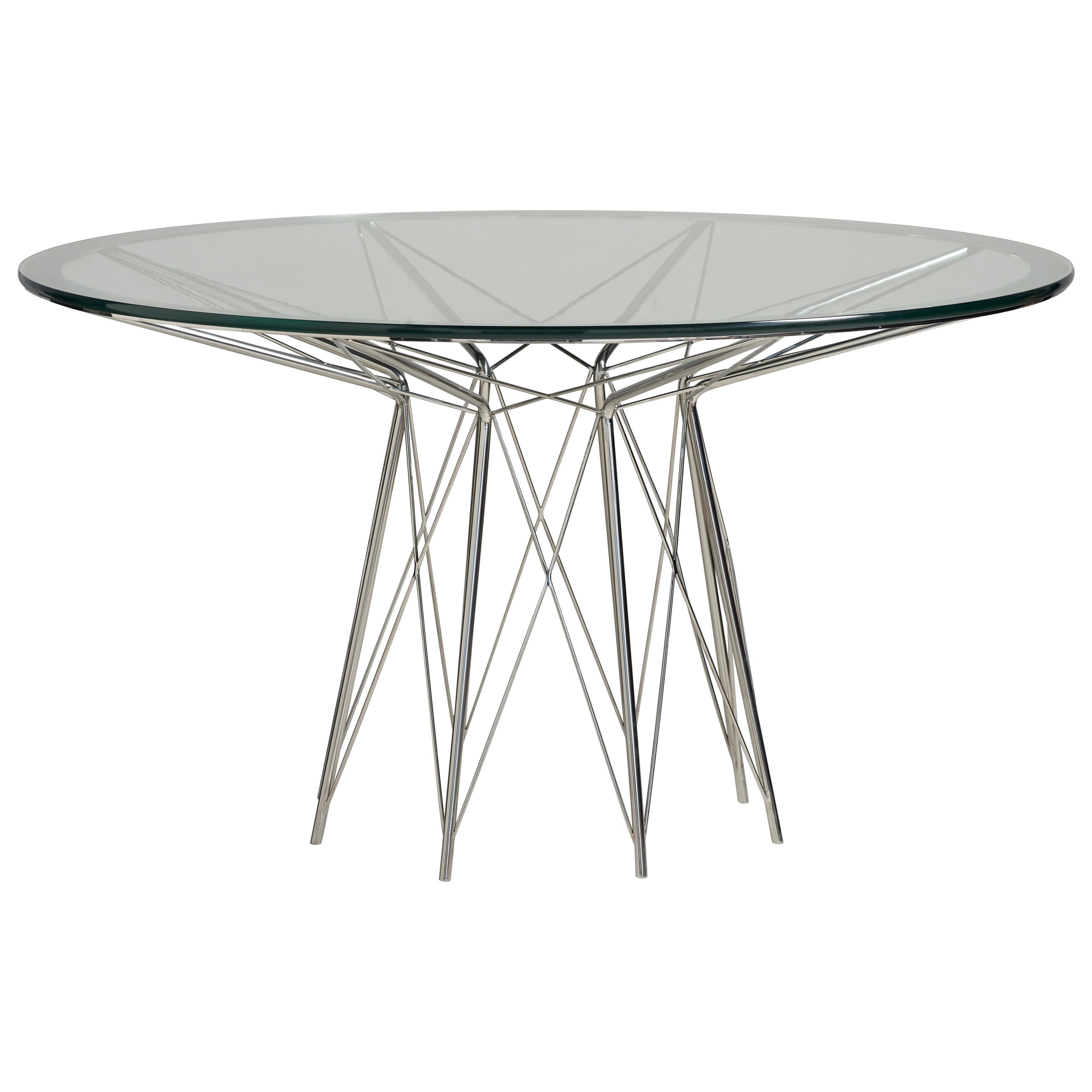 Universal Modern Axel Round Dining Table With Glass Top And Stainless Steel Metal Base Zak S Home Dining Tables