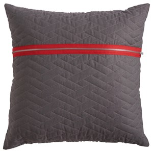 Gray Quilted Zip Accent Pillow