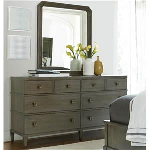 Morris Home Furnishings Platinum Dresser and Mirror Set