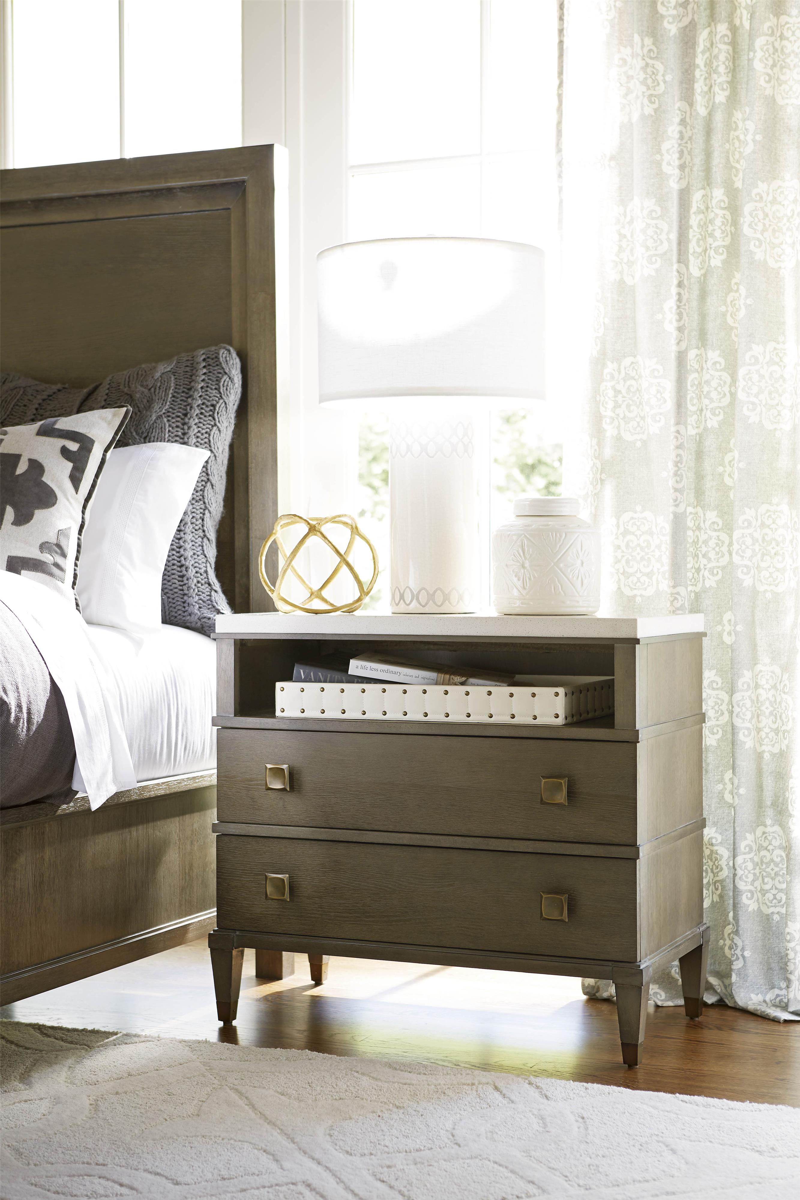 Universal Playlist 507351 2 Drawer Nightstand With Stone