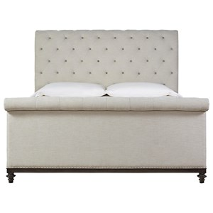 Universal Postscript Queen Cute-As-A-Button Sleigh Bed