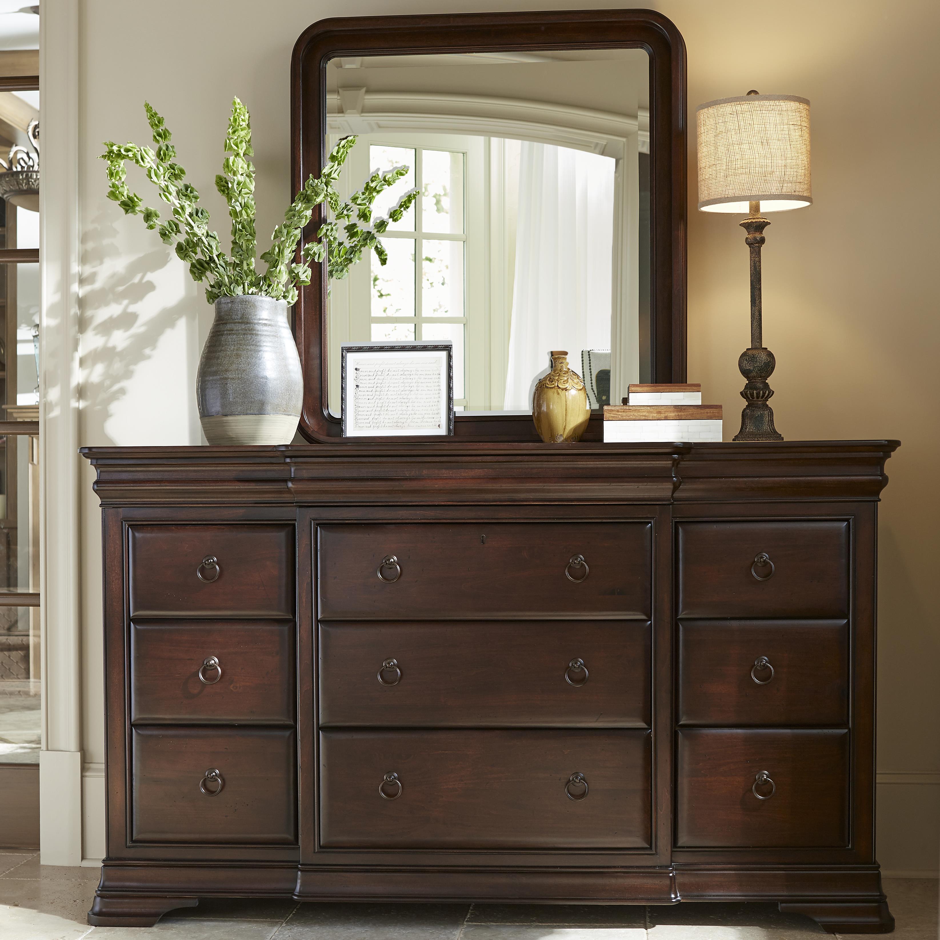 Morris Home Newton Falls Dresser and Mirror - Item Number: 581040+58104M