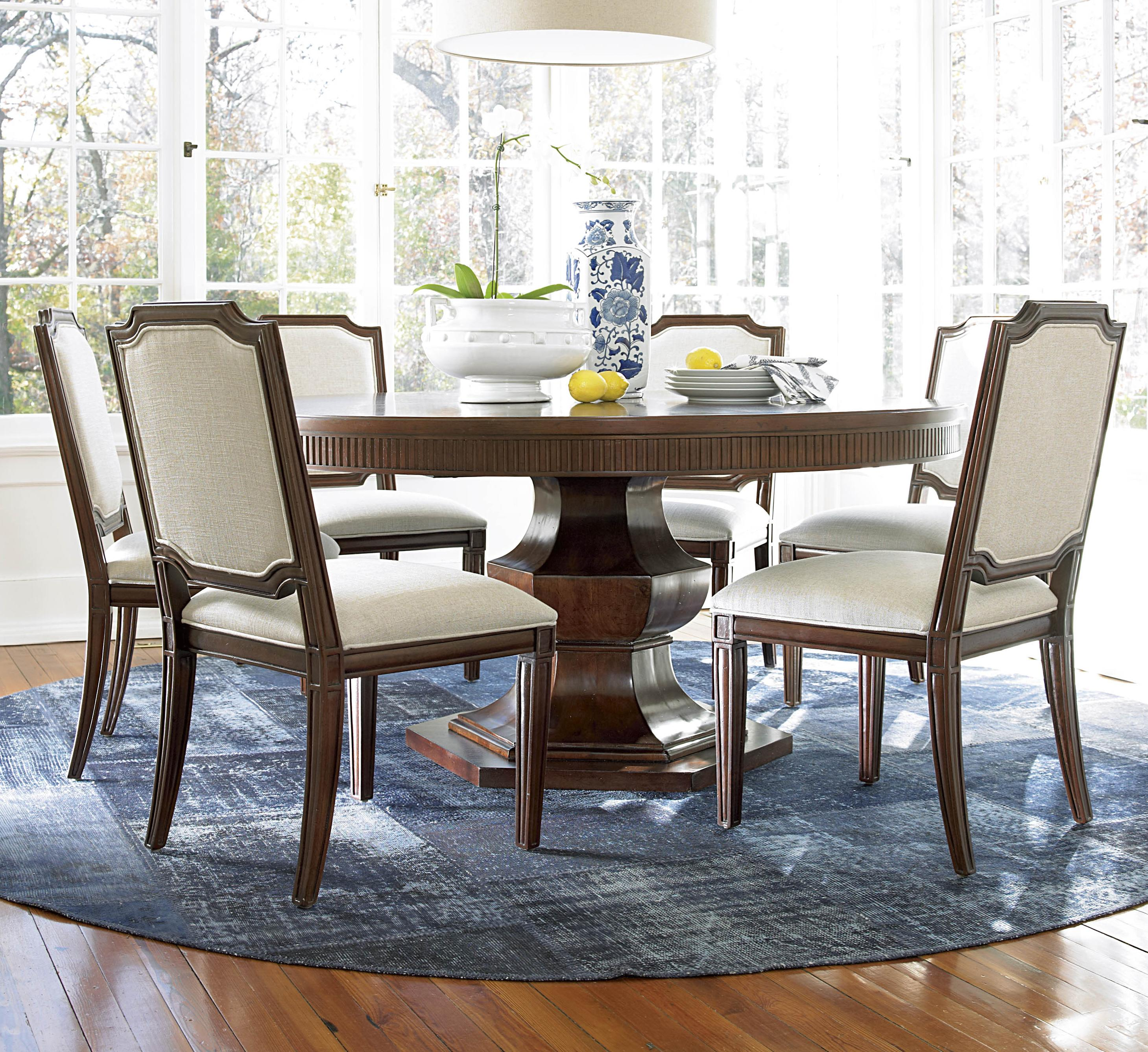 Universal Silhouette 7 Piece Dining Set With Round Pedestal Table And Upholstered Chairs Ahfa Or More Dealer Locator