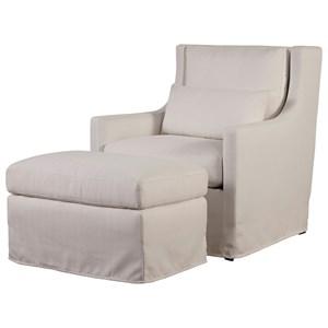 Universal Sloane Upholstered Chair & Ottoman Set