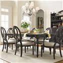 Universal Summer Hill Upholstered Seat, Pierced Back Side Chair  - Side Chairs Shown with Rectangular Table and Arm Chairs