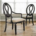 Universal Summer Hill Upholstered Seat, Pierced Back Arm Chair  - Back of Chair Similar to Side Chair in Background