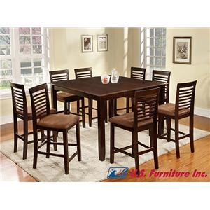 U.S. Furniture Inc 2744 Dinette 9 Piece Pub Dining Set