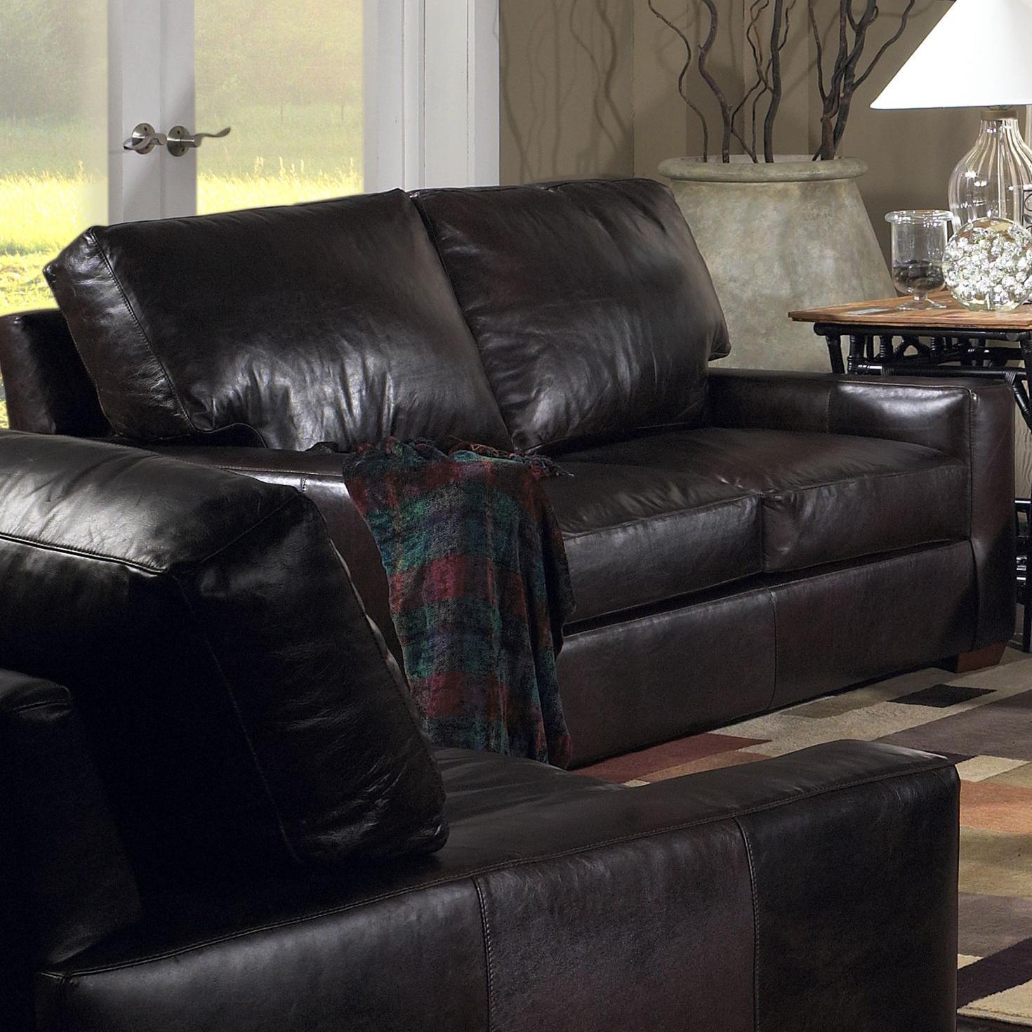 USA Premium Leather 2655 Loveseat w Exposed Wood Feet Olinde s