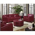USA Premium Leather 2950 Round Leather Ottoman - Shown with Conversation Sofa and Armchair