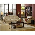 USA Premium Leather 3455 Transitional Leather Upholstered Chair with Flair-Tapered Arms - Shown with Loveseat and Sofa