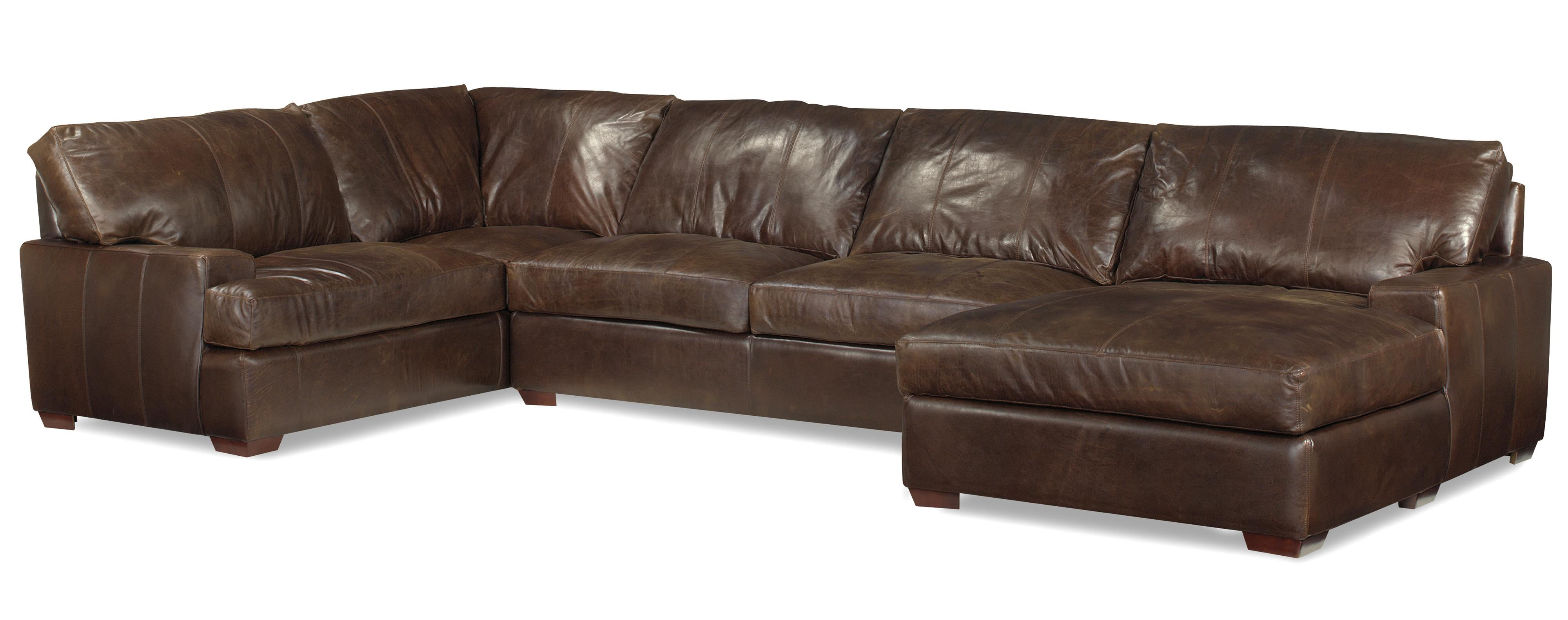 Usa premium leather 3635 track arm sofa chaise sectional w block feet olinde 39 s furniture Loveseat chaise sectional