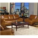 USA Premium Leather 4455 Leather Stationary Sofa - Shown with Matching Chair