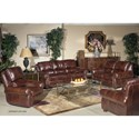 USA Premium Leather 4650 Traditional Leather Sofa with Nailheads