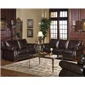 USA Premium Leather 5750 Stationary Sofa w/ Nailhead Trimming - Shown in Room Setting with Loveseat