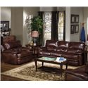 USA Premium Leather 5855 Leather Upholstered Sofa - Shown with Matching Arm Chair