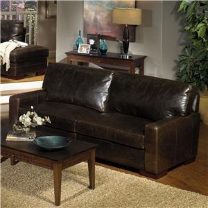 Contemporay Leather Sofa With Square Track Arms