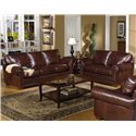 USA Premium Leather 7855 Traditional Leather Stationary Loveseat with Nailhead Trim - Shown with Sofa