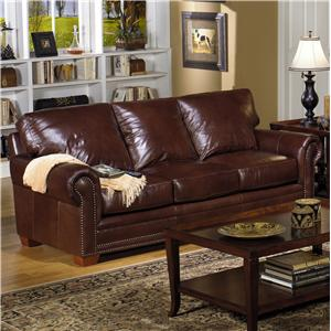 Usa Premium Leather 7855 Traditional Stationary Sofa With Nailhead Trim Howell Furniture