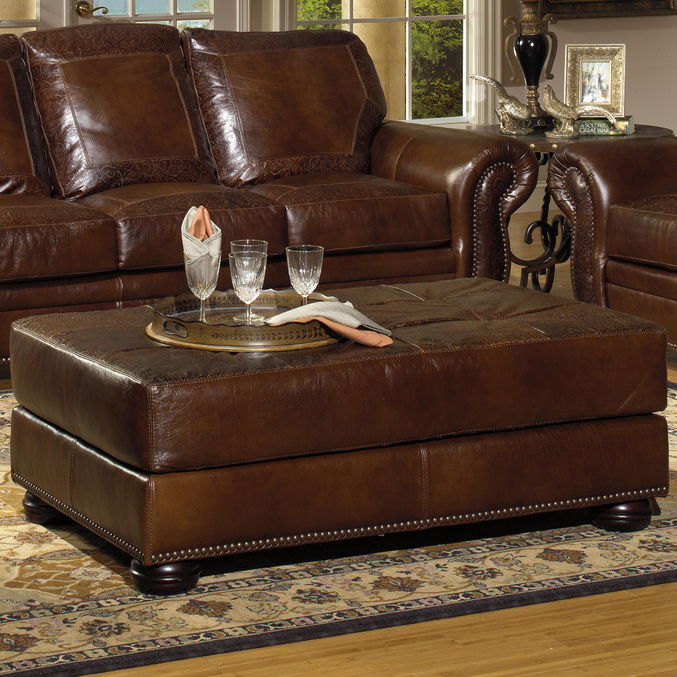 USA Premium Leather 8555 Cocktail Ottoman w Nailhead Trim