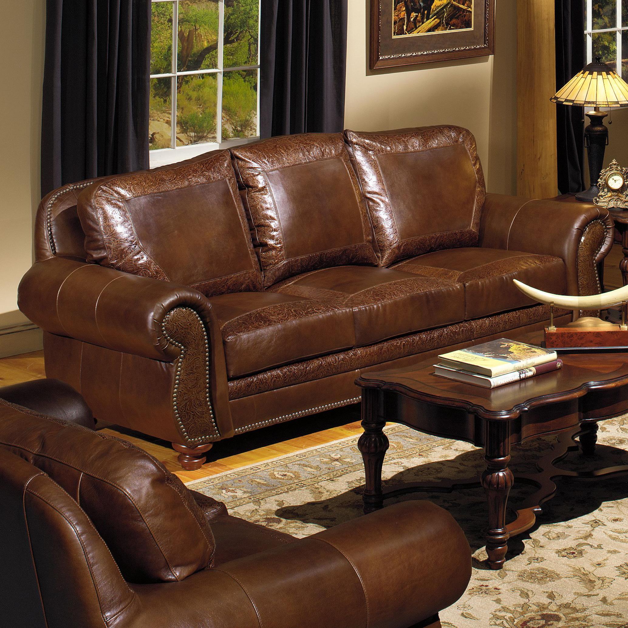 USA Premium Leather Traditional Leather Sofa With Nailhead - Leather sofas tampa