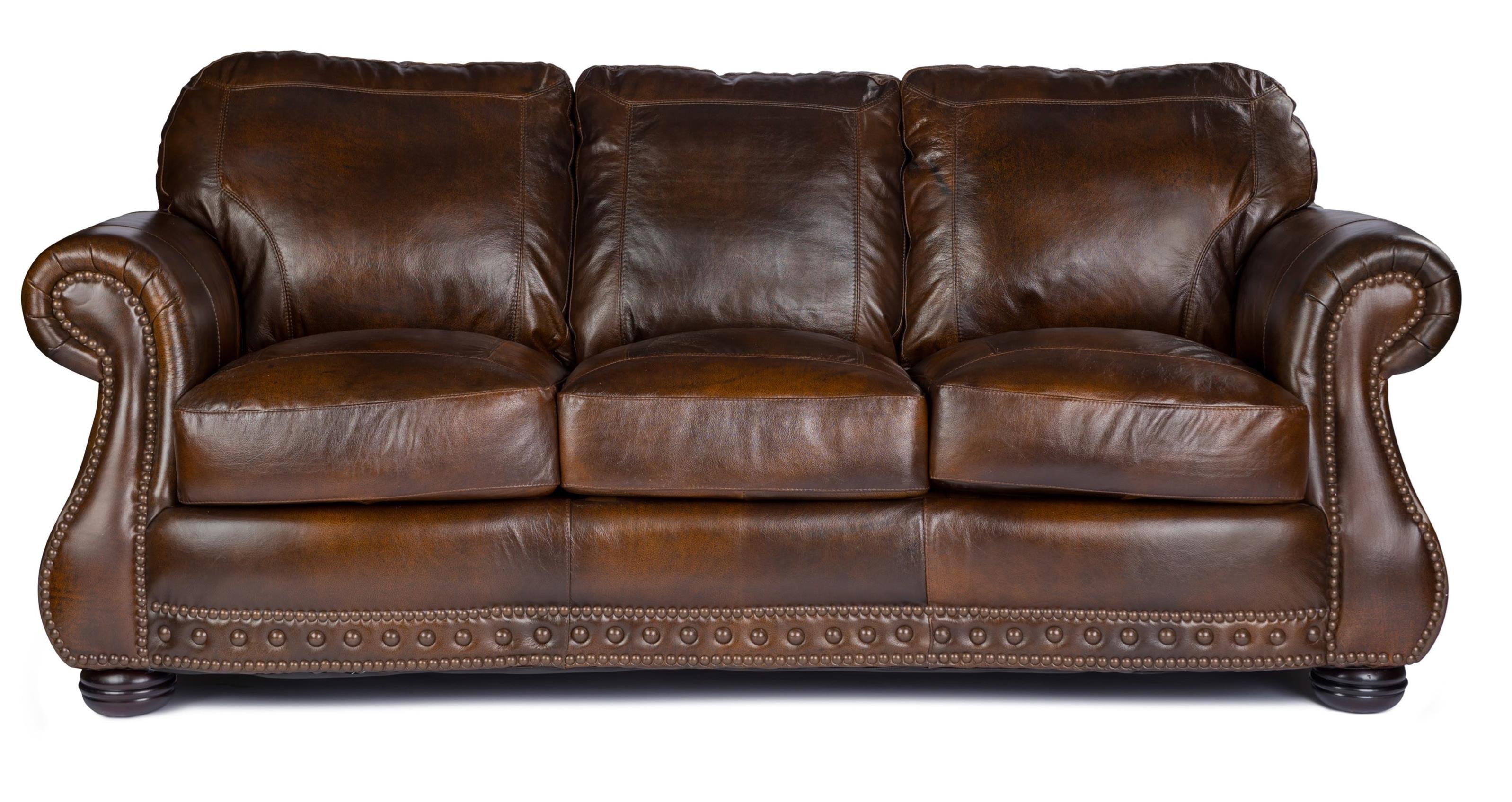Usa Premium Leather 8755 Stationary Sofa W Nailhead