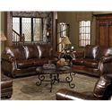 USA Premium Leather 8755 Stationary Sofa w/ Nailhead Trimming - Shown in Room Setting with Loveseat