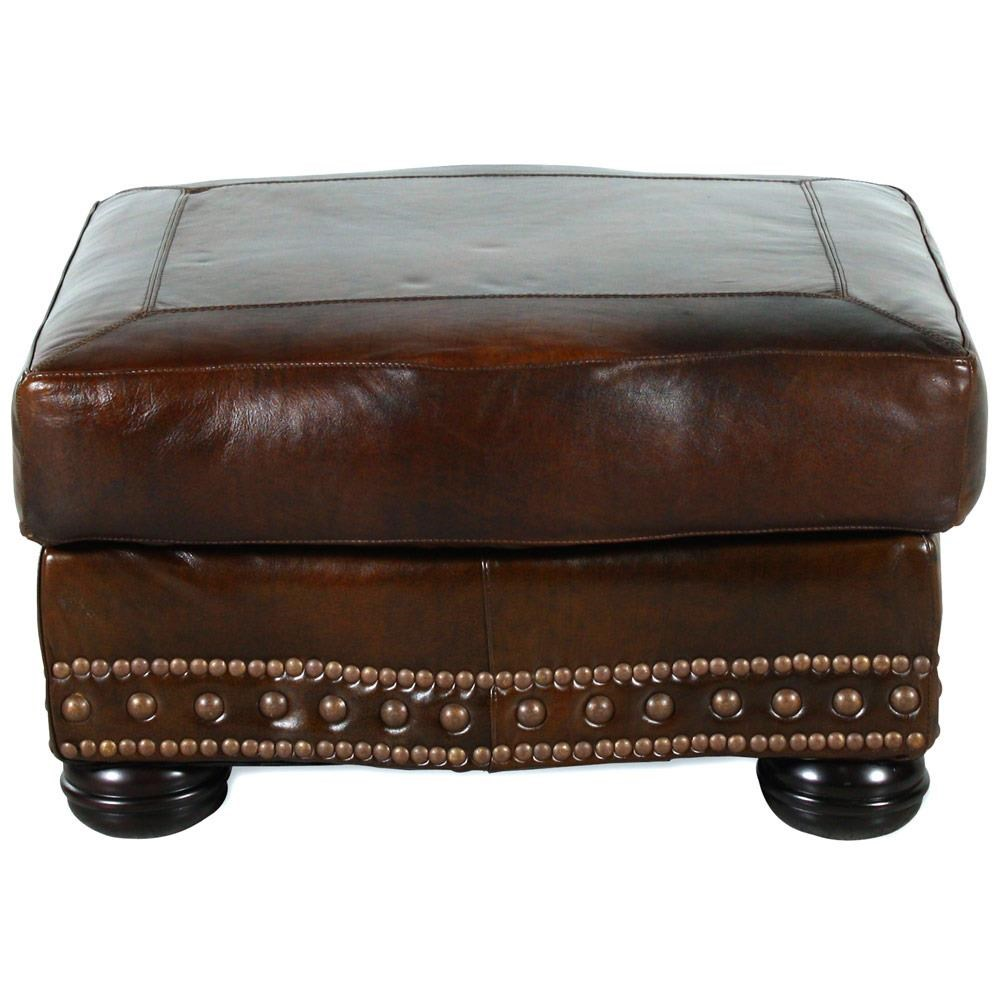 USA Premium Leather 8755 Chesterfield Leather Ottoman - Item Number: USAL-8755-00