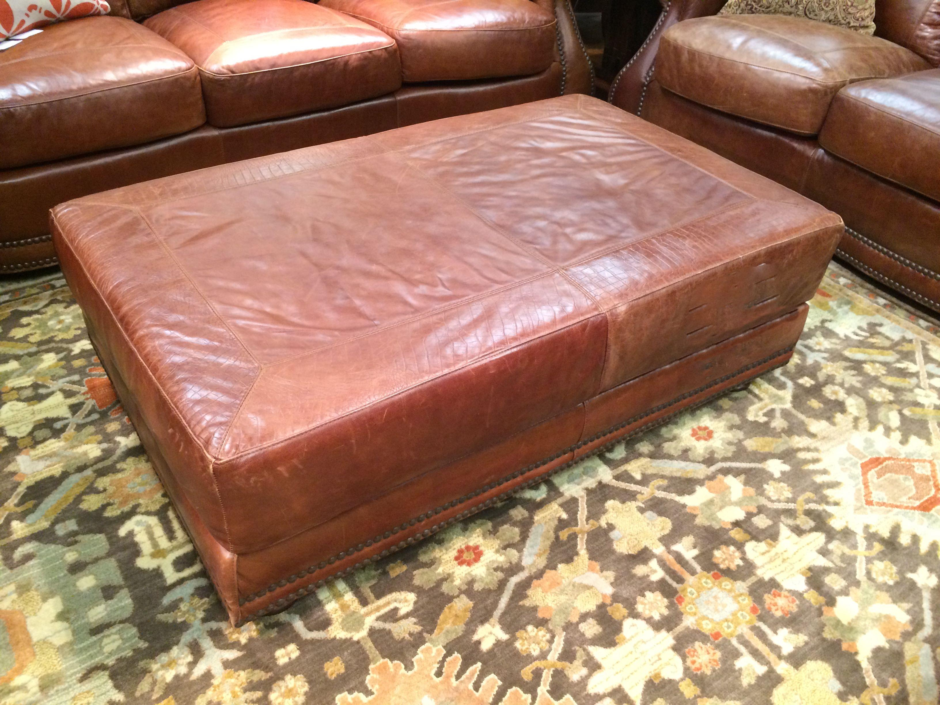 All Leather Cocktail Ottoman