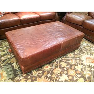 USA Premium Leather 9055 All Leather Cocktail Ottoman