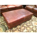 USA Premium Leather 9055 All Leather Cocktail Ottoman - Item Number: 9055-05 CKTL OT
