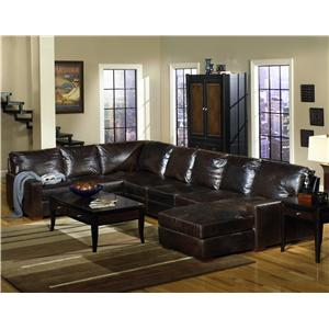 Usa Premium Leather Track Arm Sofa Chaise Sectional