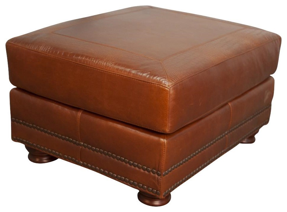 Rhodas Rhodas 100% Top Grain Leather Ottoman by USA Premium Leather at Morris Home