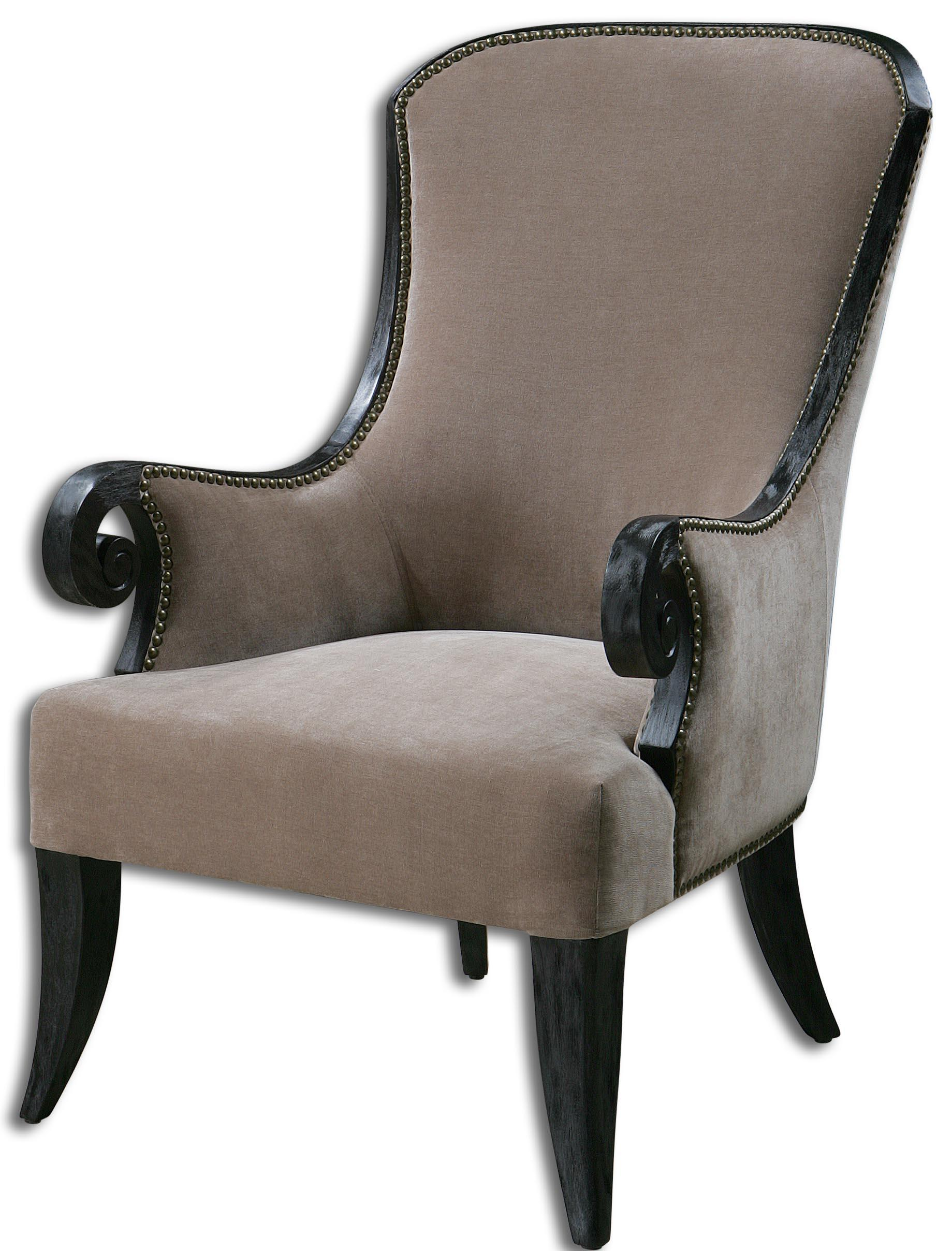 Accent Furniture - Accent Chairs Kandy Taupe ArmChair by Uttermost at Reid's Furniture