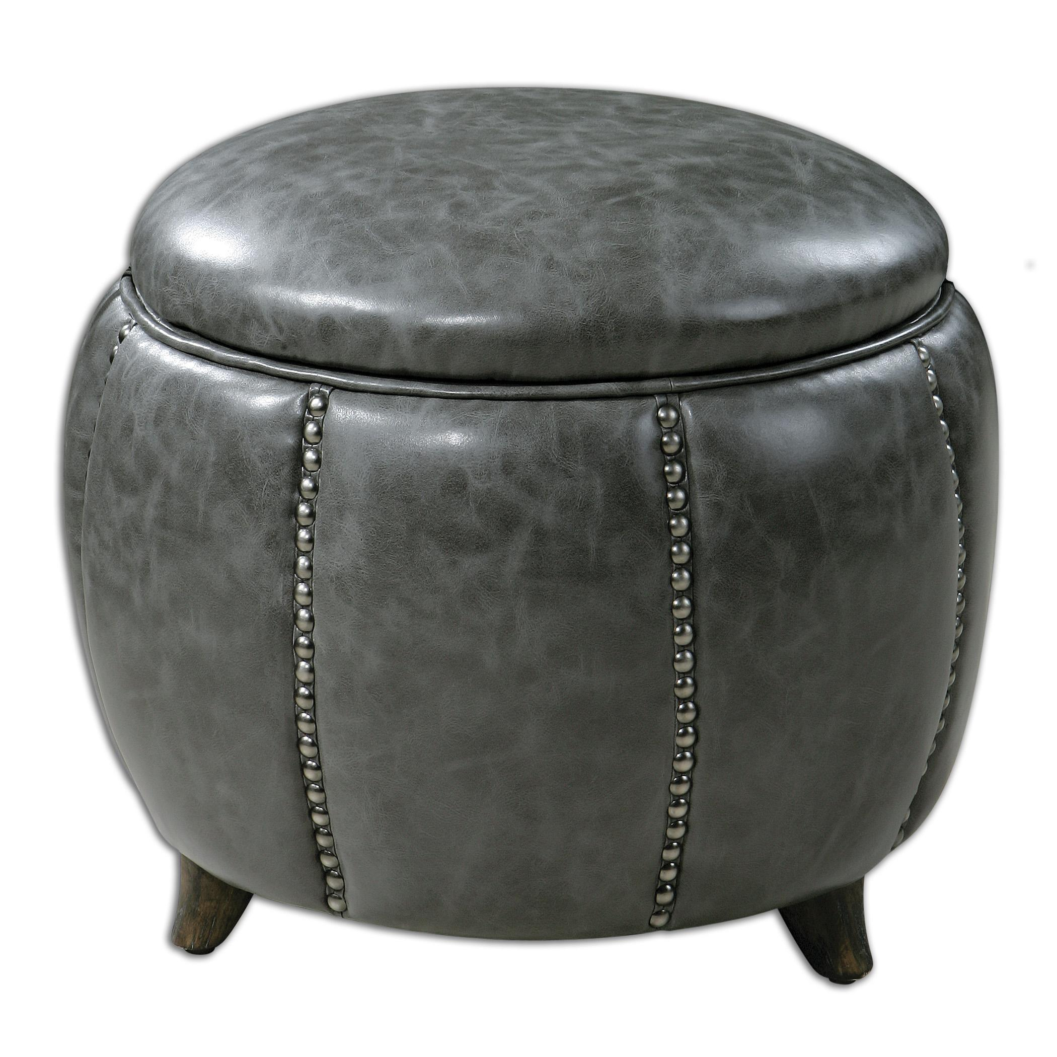 Uttermost Accent Furniture Linford Round Storage Ottoman - Item Number: 23187