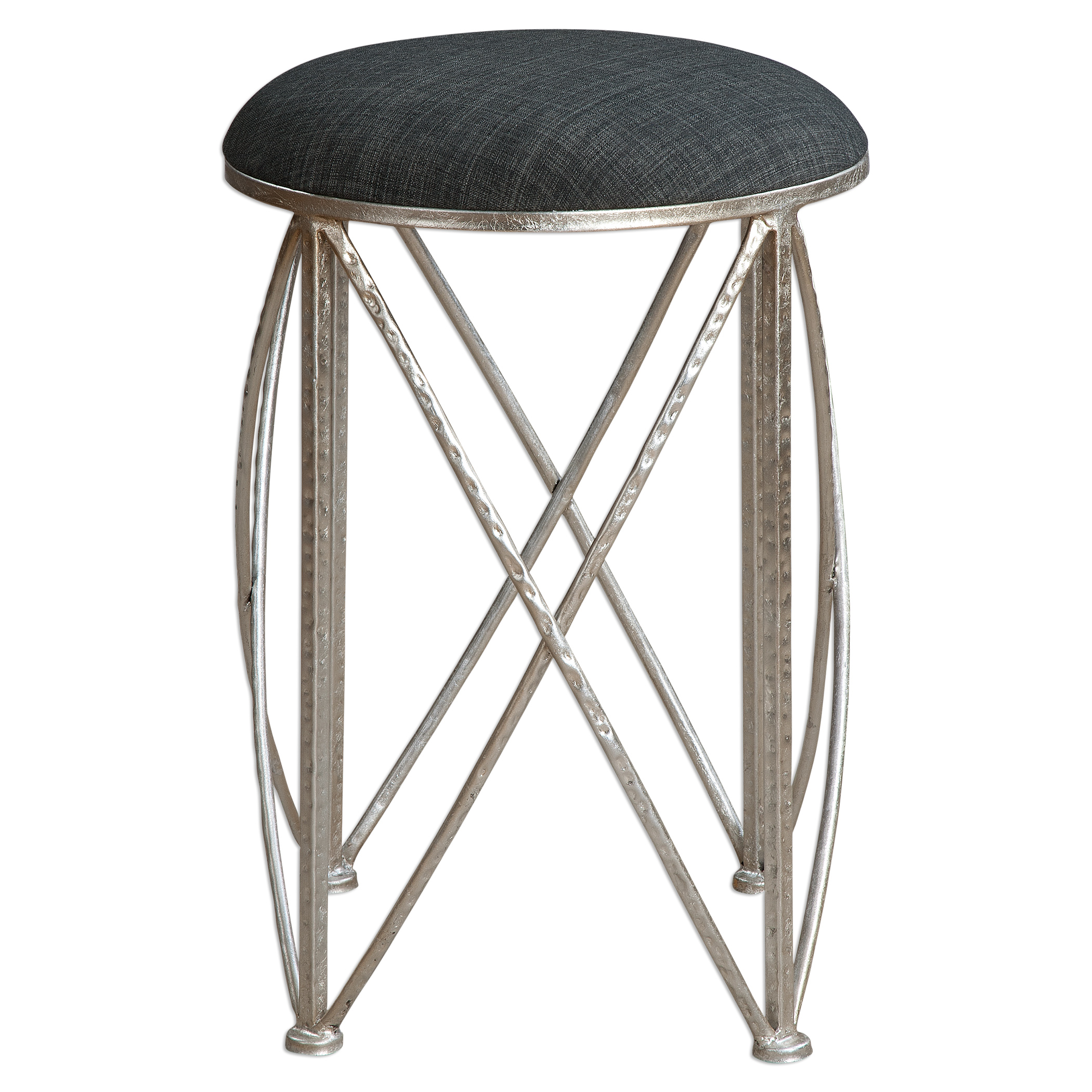 Uttermost Accent Furniture Delaine Silver Small Stool - Item Number: 23280