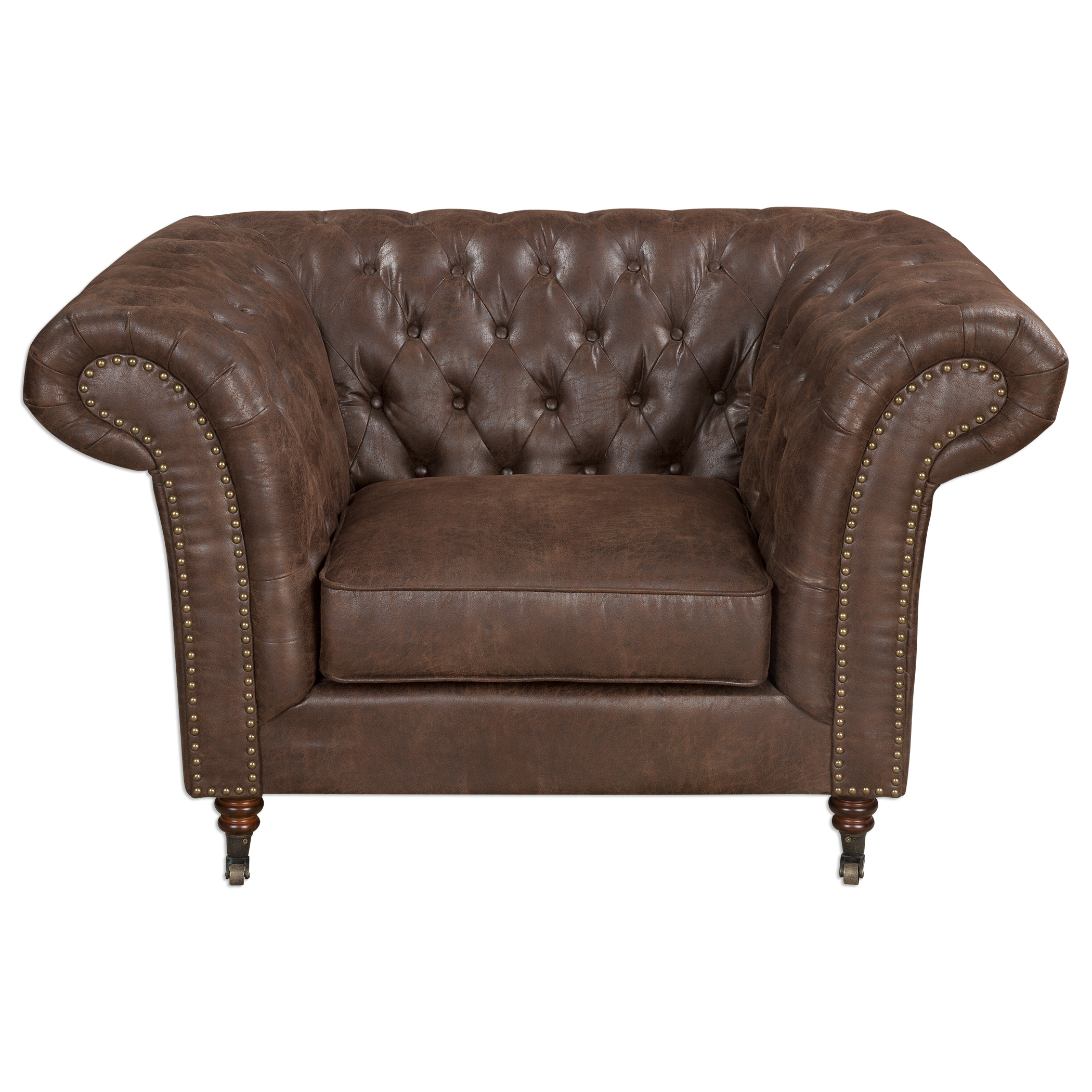 Uttermost Accent Furniture Redmond Weathered Brown Armchair - Item Number: 23297