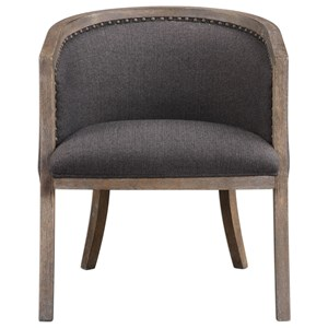 Uttermost Accent Furniture Terrell Dark Flax Barrel Chair