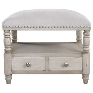 Uttermost Accent Furniture Bailor White Canvas Bench