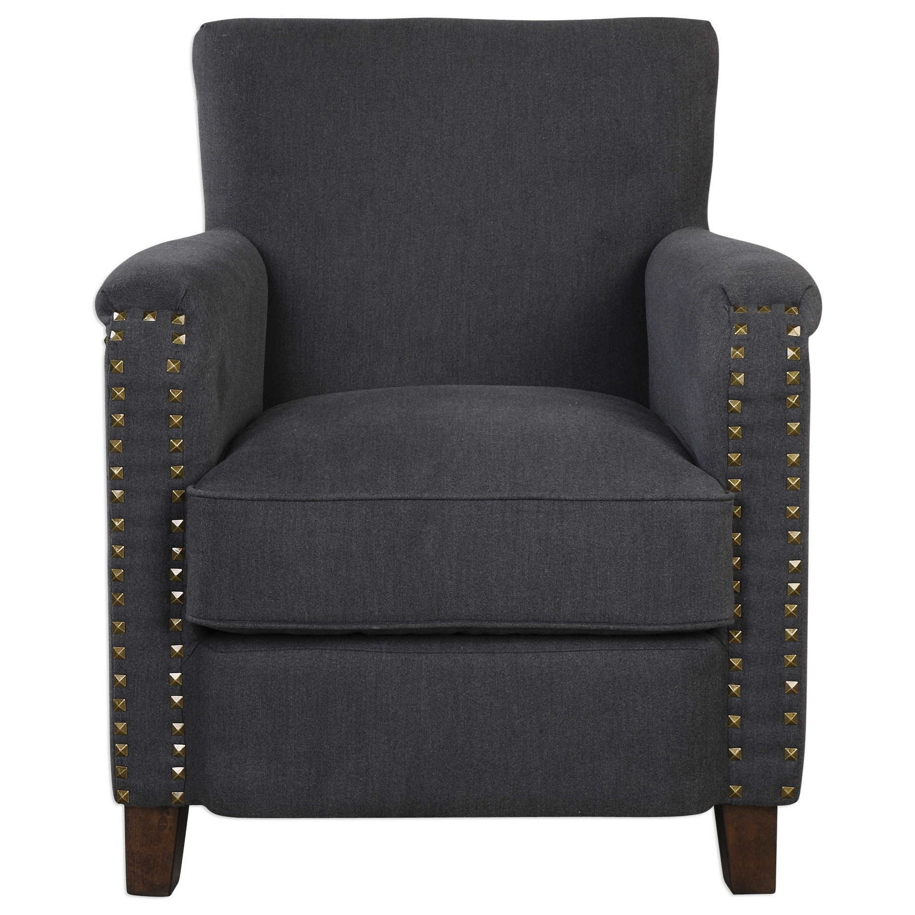 Uttermost Accent Furniture Finchly Deep Gray Armchair - Item Number: 23371