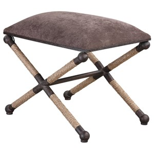 Uttermost Accent Furniture Evert Taupe Brown Accent Stool