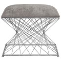 Uttermost Accent Furniture Zelia Silver Accent Stool