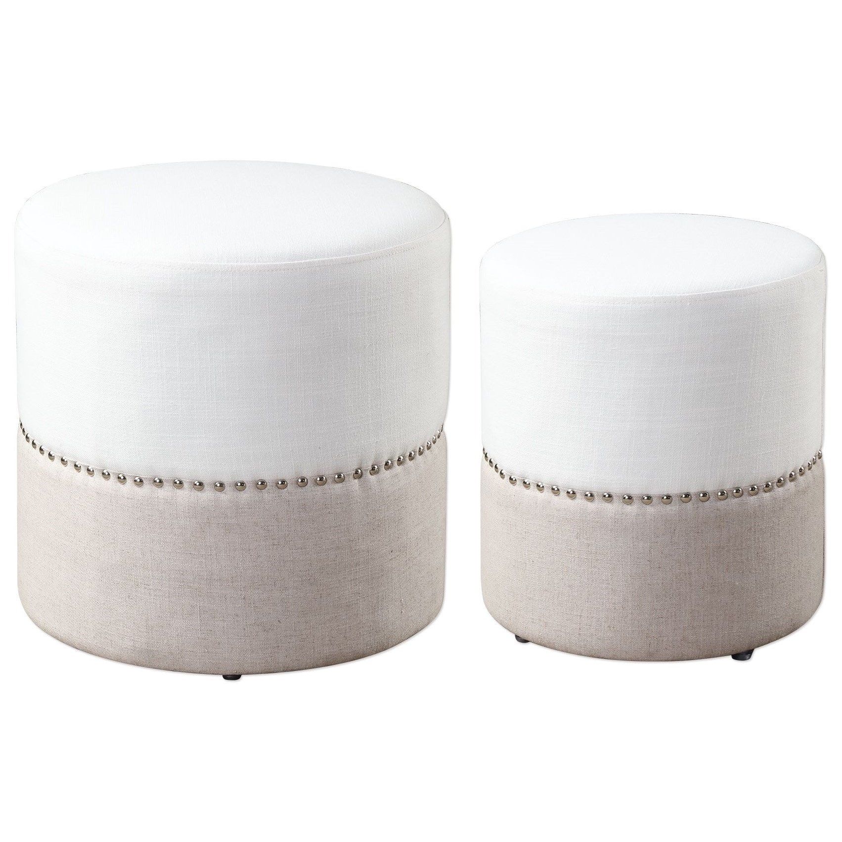 Accent Furniture - Ottomans Tilda Two-Toned Nesting Ottomans by Uttermost at Suburban Furniture