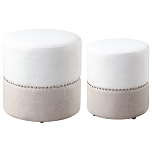 Uttermost Accent Furniture Tilda Two-Toned Nesting Ottomans