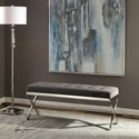 Uttermost Accent Furniture - Benches Bijou Gray Fabric Bench