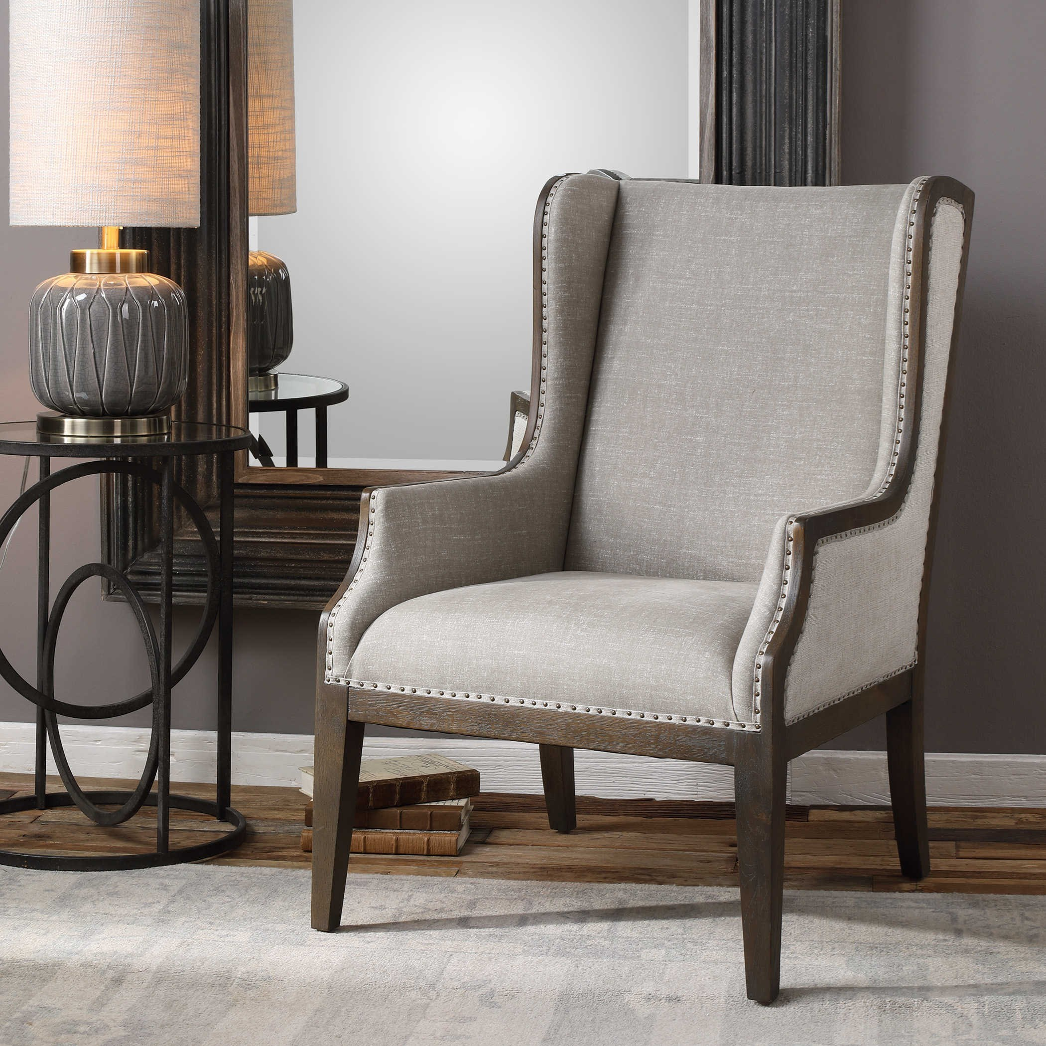 Uttermost Accent Furniture 23444 Florent Wing Back
