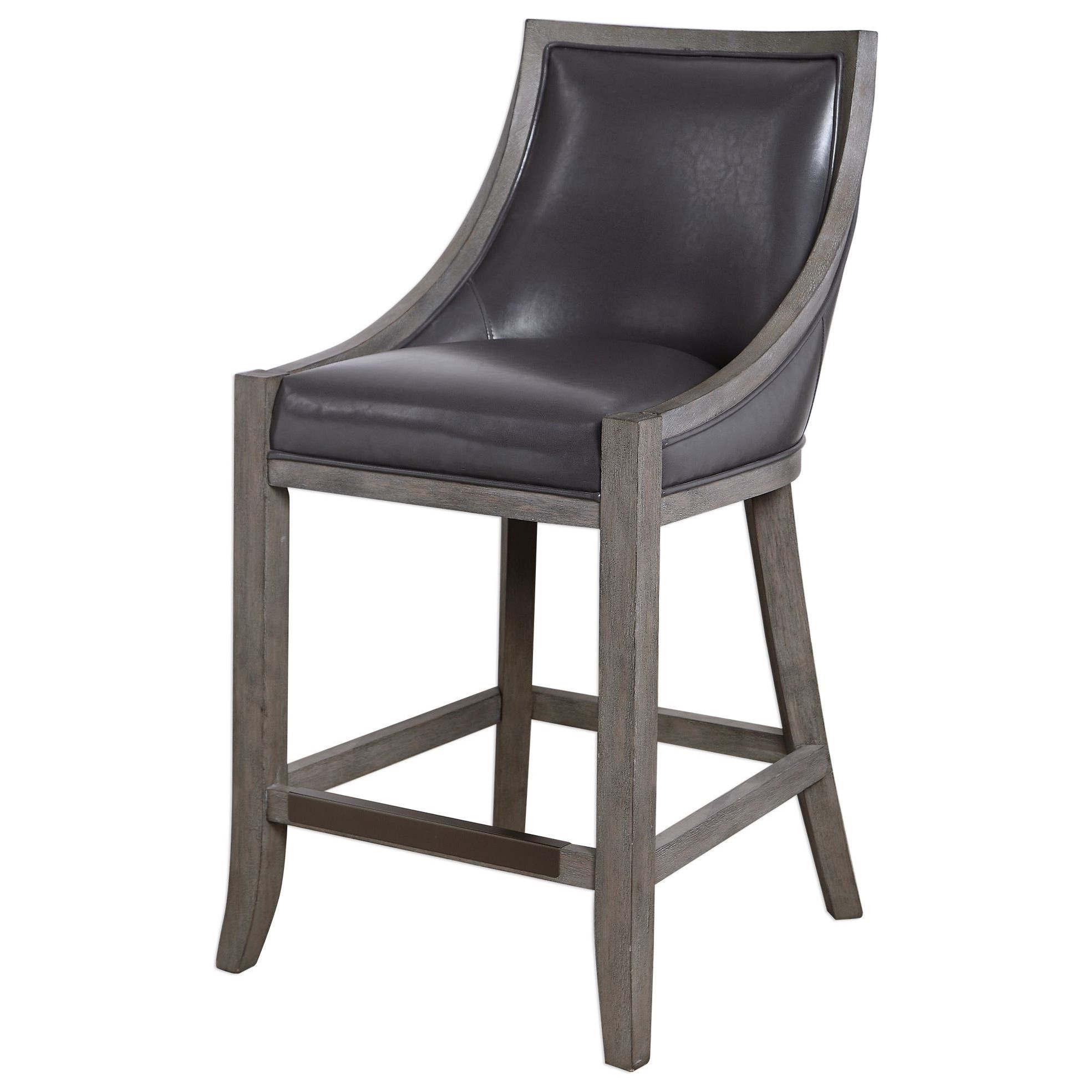 Accent Furniture - Stools Elowen Leather Counter Stool by Uttermost at Factory Direct Furniture