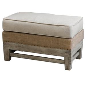 Uttermost Accent Furniture Schafer Linen Ottoman